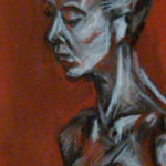 On Break, Charcoal & Conte on Paper, 18 by 2, 2009